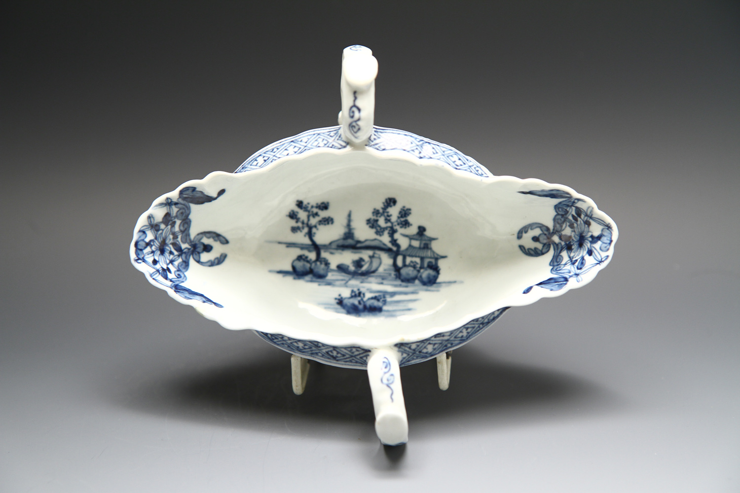 1097 - A good Worcester double handled sauceboat c 1755