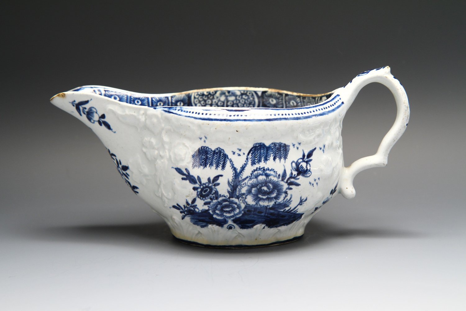 1106 - An unusual Bow sauceboat c 1762-7