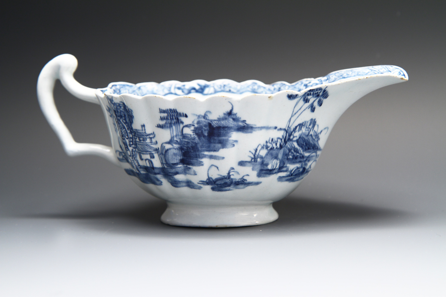 1072 - A good Bow sauceboat c 1758