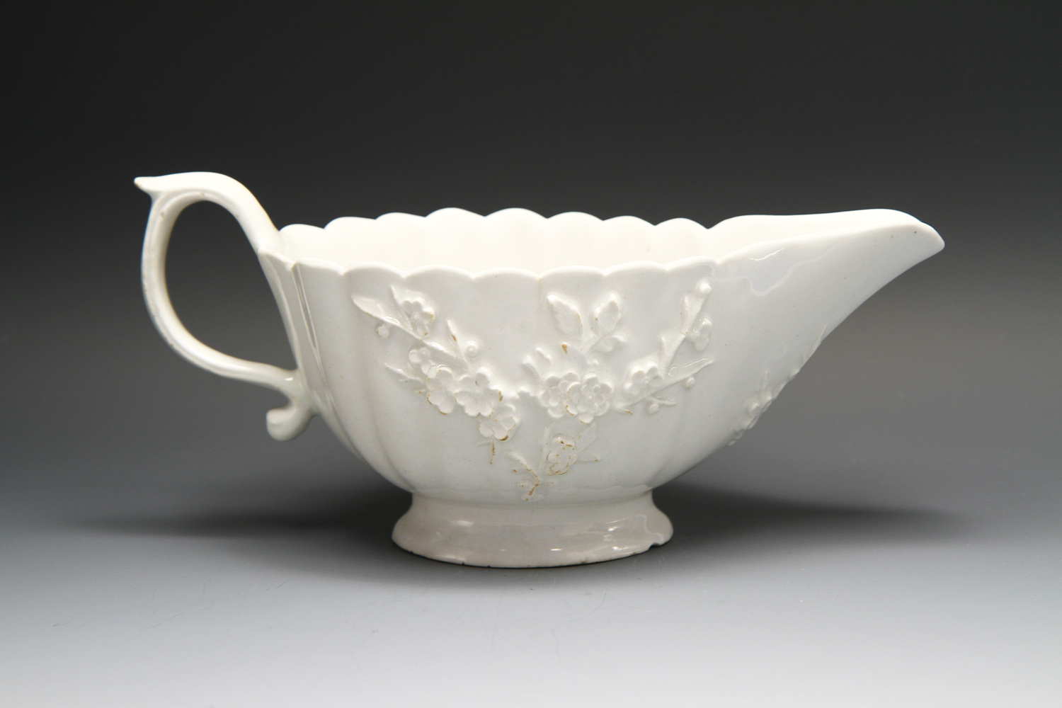 1107 - A white Bow sauceboat c 1760-63