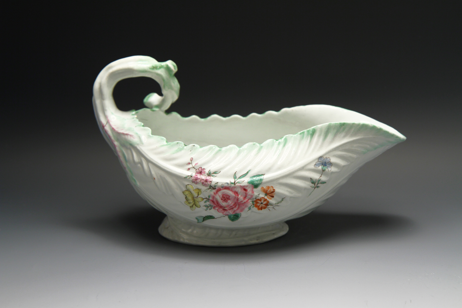 1114 - A large Worcester Cos Lettuce sauceboat c 1755 with provenance